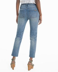 High-Rise Straight Crop Jeans in Medium Wash