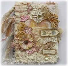 Vintage Style Fabric/Paper Journal Cover {Featuring Bo Bunny Blooms and Tresors de Luxe Lace} - Such a pretty mess