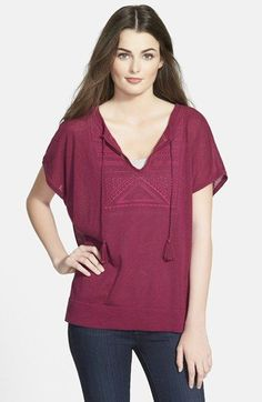 Bobeau+Embroidered+Knit+Top+available+at+#Nordstrom