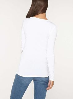 Womens **Tall White Crew Neck Long Sleeve Top- White