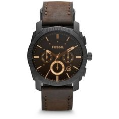 Fossil Machine Mid-Size Chronograph Brown Leather Watch ($155) ❤ liked on Polyvore featuring men's fashion, men's jewelry, men's watches, mens leather watches, mens brown leather watches, fossil mens watches and mens chronograph watches