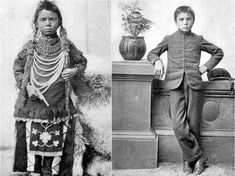 Aboriginal boy before and after being forced into Canadian Residential School. Some schools had up to mortality rate. Indian Residential Schools, Our Father Prayer, Native Child, Dwelling On The Past, Singing The National Anthem, Canadian History, Aboriginal Art, Aboriginal Children, History Facts