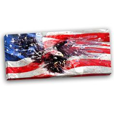 Flag with American Eagle Canvas Wall Art Print