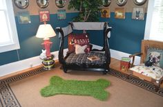 I like the grass dog bone rug and the dog bowl mirrors on the wall. cute!