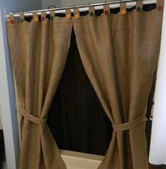 "Burlap Tab Shower Curtain or Window Panels / 2 / 40""x72"" panels w buttons and tie backs"
