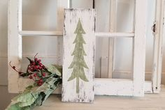 """""""Farmhouse vintage style hand painted wood sign. Rustic green Christmas tree sign. Give your home a nostalgic feeling this year with this rustic Christmas tree sign. **This is a rustic piece of wood. If there is a KNOT IN THE WOOD, then it's going to show, especially when it's in the tree part that is sanded. The grain and the knots will come out with the sanding. That's the way this sign is supposed to be. Actually the more knots and imperfections in the wood the better. That's how it gets the  Farmhouse Christmas, Farmhouse Style Christmas, Christmas Decorations Rustic, Christmas Tree Set, Farmhouse Christmas Tree, Green Christmas Tree, Farmhouse Outdoor Decor, Farmhouse Christmas Decor, Rustic Christmas"""