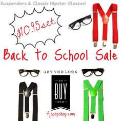 Back to School sale now available over on our website. The set is on sale for $10.95, so go get a set of Classic kid hipster glasses in black and a pair of suspenders of your choice, and all at a discounted price.  Available at fjspopshop.com now! #fjspopshop