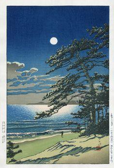 Spring Moon at Ninomiya, by Kawase Hasui (1883-1957). Shin Hanga Japanese Prints.