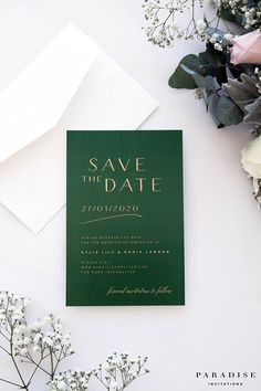 Green and Gold Save the Date Cards