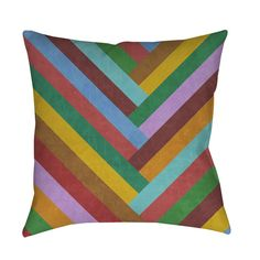 Rainbow chevron stripes meet outstanding color in this brightly designed pillow from Thumbprintz. Woven polyester envelopes recycled polyester fill, creating a soft and cozy accent piece for your indoor or outdoor living space.