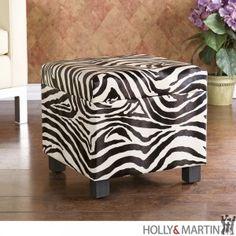 Holly & Martin Safari Storage Ottoman-Zebra