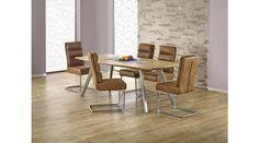 GOLIAT - egy retro stílusú étkezőasztal, mely modern enteriőrökben is remekül megállja a helyét. Az étkezőasztal mérete: 160/90/76 cm. Az asztal a fotón K207 székekkel látható, melyek nem tartoznak az asztalhoz, de webshopunkban külön