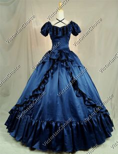 Victorian+Southern+Belle+Navy+Blue+Formal+Period+Dress+Ball+Gown+Reenactment+Theatre+Clothing