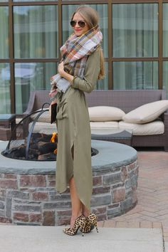 Sweets and Style Just Right: Army Green Wrap Dress + Leopard + Plaid Blanket Scarf