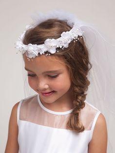 Amazon.com: DressForLess Girls First Communion White Floral Wreath Veil: Clothing