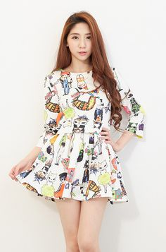 Cats Printing White Colour Three-Quarter Sleeve top and skirt one set