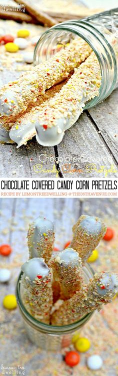 Recipes - Chocolate Covered Candy Corn Pretzels... The perfect Fall treat!