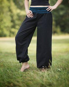 Nohavice Ornament čierne s petrolejovú