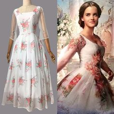 7309a6a1792 Bm33 belle 2017 white dress celebration dress disneybound chiffon dress long  version Casual Summer Outfits