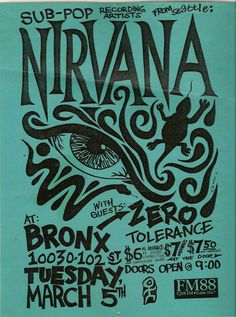 Nirvana. Love the bold black hand drawn type.