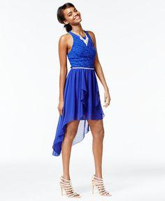 07572420c5a4 City Studios Juniors& Lace High-Low Dress - Juniors Dresses - Macy& Bridal  and Wedding Registry
