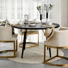 Round black table with gold detailing – Home Dining Chairs, Dining Table, Black Table, Wooden Tables, Minimalist, Lounge, Interior Design, Store Online, Furniture