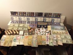 Huge lot paper money coin mint proof sets & old stamps old silver coins AD COIN