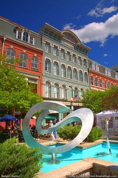 Bangor, Maine, is the largest commercial center for central and northern Maine. This photo was taken during a sidewalk art festival.