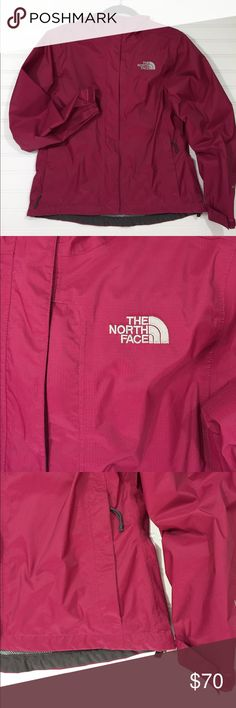 NORTH FACE Rain Coat Pit to pit measurement is 20 inches...extra roomy!  Coat is 24 inches long. 3 inches longer in back.  They thought of everything when they designed this jacket.  Pockets galore.  Covered zippers.  A brimmed hood.  Best of all, nylon mesh interior to prevent jacket from sticking to you!  (Always the worst). Coat is in top condition.  No stains, tears, rips, faded areas, frayed or worn areas etc.  Smoke free. Beautiful dark pink color.  This coat can handle any weather…