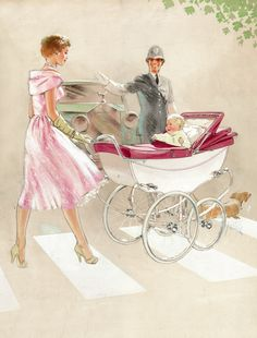 We're in the pink today with this beautiful image which spans the Silver Cross decades. The Envoy baby coach shown in the illustration was handmade in Yorkshire in the Vintage Pram, Mode Vintage, Baby Kind, Retro Poster, Poster Vintage, Vintage Cards, Vintage Images, Silver Cross Prams, Vintage Posters