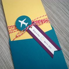 Airplane Boarding Pass Invitations for Destination - love the skinny envelop!
