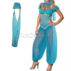Mon Blue Jasmine Genie Belly Women Dancer Arabian Nights Fancy Dress Costume | eBay