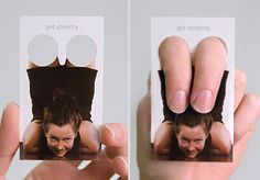 interactive yoga business card. funny flexible people.