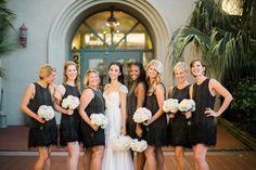 #160 #Fort Myers #Florida #Wedding #Bride #Bridesmaids #Dress #Bouquet #Black&White