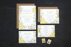 Floral Wedding Invitations - Modern Whimsical Unique Design - Wildflower Motif and Vintage Modern Typography via The Oyster's Pearl on Etsy