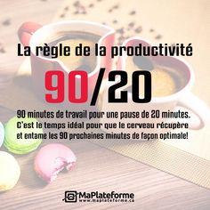 90 minutes de travail pour une pause de 20 minutes. C'est le temps idéal pour que le cerveau récupère et entame les 90 prochaines minutes de façon optimale! C'est la règle de la productivité par excellence! Suivez-nous!