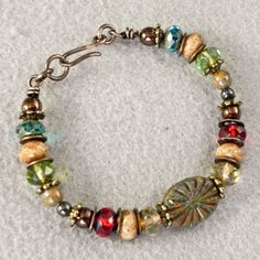 Green Picasso Gemstone Beaded Bracelet  Boho by ArtQueenClaire
