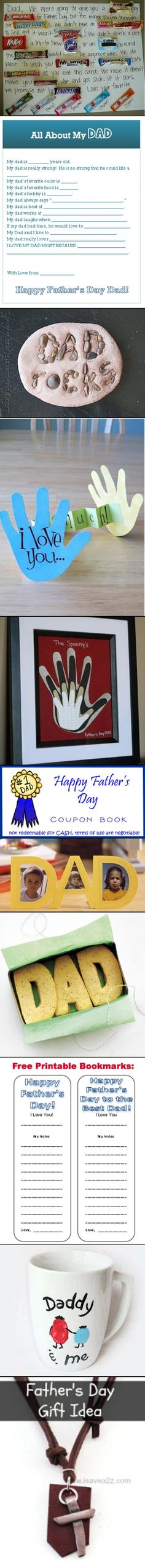 Here's a list of 10 Father's Day Gift Ideas for Kids! Pretty easy to do and budget Friendly too! #kids #FathersDay #Crafts http://www.isavea2z.com/10-fathers-day-gift-ideas-for-kids/