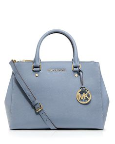 MICHAEL Michael Kors Satchel - Sutton Medium   Bloomingdale's  ❤️love this .. Paired with distressed jeans and a white t, perhaps with the matching peep toe heels in this board, broken up with some gold and a black leather belt.. Love