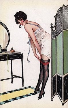 Screening calls...1920's era pin-up.