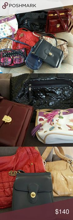 LOT OF NINE (9) DESIGNER BAGS! Large J.PLINER tote Limited edition DOONEY & BOURKE CHENSON RED by MARC ECKO MAKOWSKI vintage COACH SONDRA ROBERTS BETSY JOHNSON COLE HAAN crossbody NWT  ALL ARE EUC OR VERY GOOD CONDITION COLE HAAN IS NWT Bags