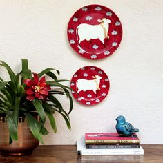 Buy online Wall Plate - Pink cow wall plate from Mora Taara Plate Design, Box Design, Wall Design, Plate Wall Decor, Plates On Wall, Rustic Plates, Decorative Plates, Decorative Paintings, Pichwai Paintings