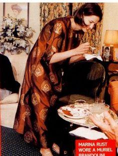 little augury: Marina Rust in a Muriel Brandolini caftan Diana Vreeland, Marina Rust, Boho Chic, Kaftan Designs, Yves Saint Laurent, Looks Style, My Style, Comfortable Outfits, Style Icons