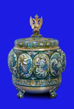 The prize of Tsar Nicholas II for the horse race competition in Italy Silver, gilding, vitreous and cloisonné enamel Fabergé, Moscow 1911 Height 36.4 cm