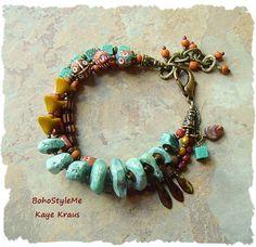 Boho Southwest Jewelry Chunky Turquoise Bracelet by BohoStyleMe