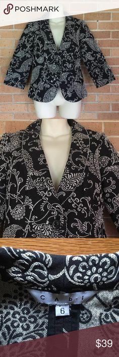"CAbi Eliza Tapestry Jacket Blazer Size 6 Beautiful Career Piece from CAbi Size 6 40% polyester, 60% rayon  Length 25"" Armpit to armpit 18"" CAbi Jackets & Coats Blazers"