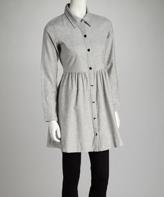 Take a look at this Gray Hannah Button-Up Dress by kersh on #zulily today!