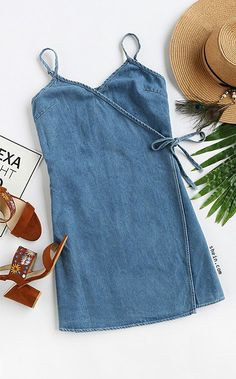 Shop Blue Wrap Cami Dress With Tie Detail online. ROMWE offers Blue Wrap Cami Dress With Tie Detail & more to fit your fashionable needs. Casual Dresses, Casual Outfits, Cute Outfits, Denim Dresses, Chambray Dress, Sleeveless Dresses, Look Fashion, Fashion Outfits, Womens Fashion