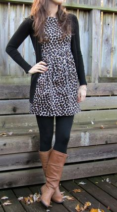 Stylish Dotted Dress With Ladies Black Sweater