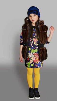 Junior Gaultier floral dress and fun fur gilet from Alex and Alexa for fall 2014